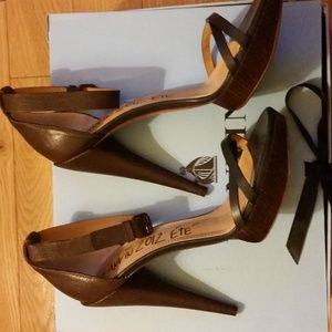 Lanvin cone heel, ankle strap sandal, size 40